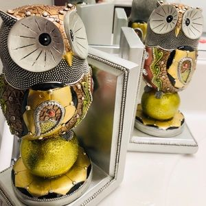 GOLD TONE MOSAIC OWL BEADED BOOKENDS W GLASS INLAY